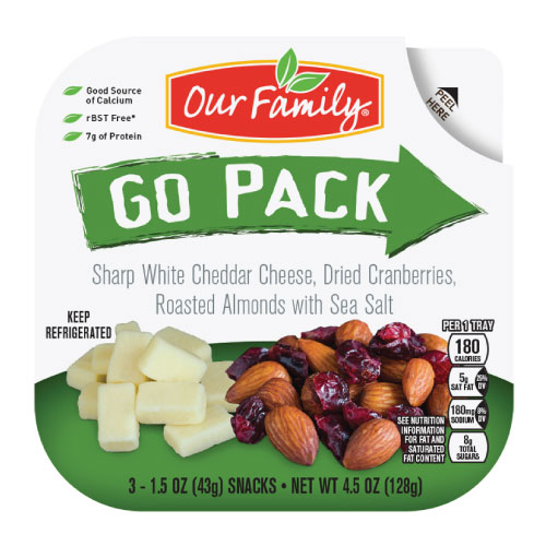 New Item - Our Family Go Pack, Cheddar, Cranberries, Almonds