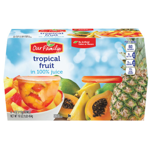 New - Our Family Tropical Fruit Bowls in 100% Juice