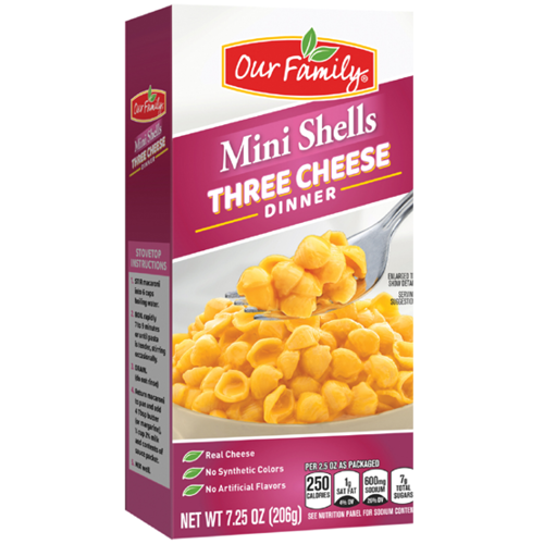New Product - Our Family Mini Shells Three Cheese Dinner