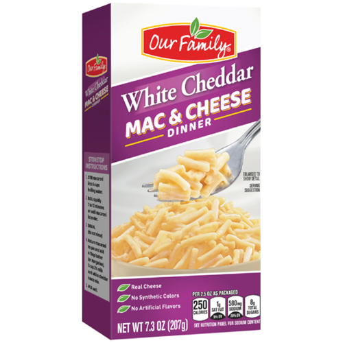 New Product - Our Family White Cheddar Mac & Cheese Dinner